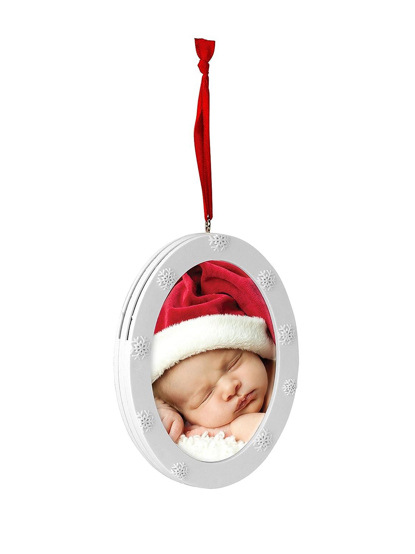 Tiny Ideas Keepsake Holiday Snow Flake Photo Ornament Personalized Holiday Keepsake Ornament White