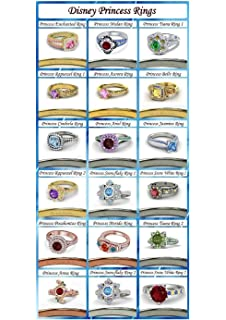 tusakha 14k gold plated multi color cz disney princess engagement wedding ring - Disney Princess Wedding Rings