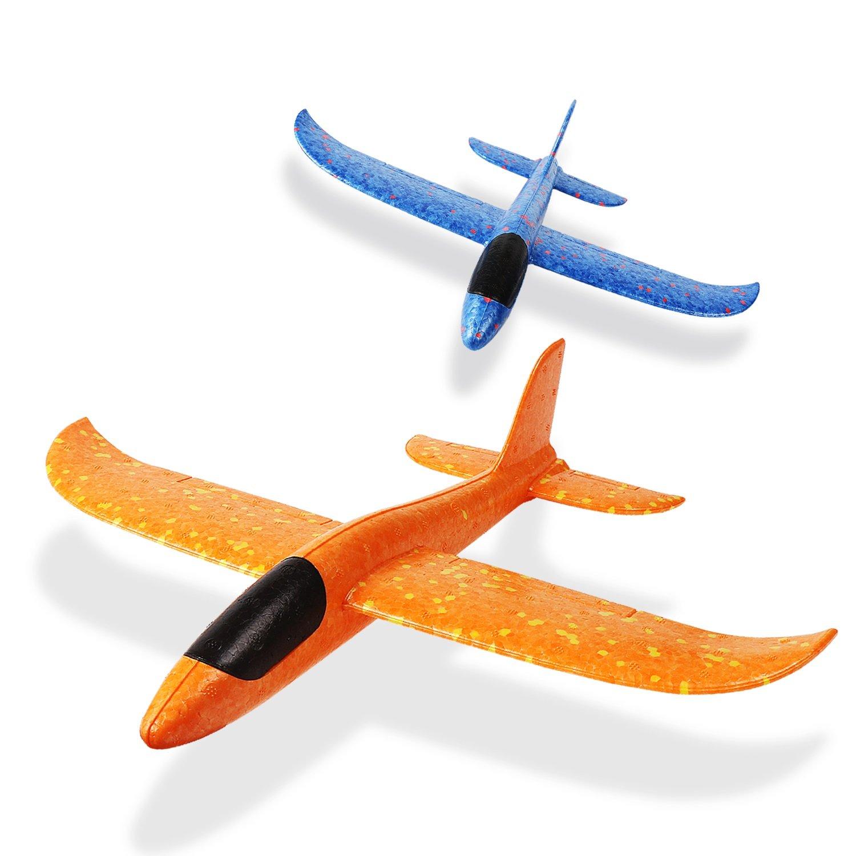 USHF Throwing Foam Airplane Toys,2pcs 13.5inch Airplane, Outdoor Sports Toy, Model Foam Airplane, Blue & Orange Airplane, Fun Best Outdoor Fun for Kids Children