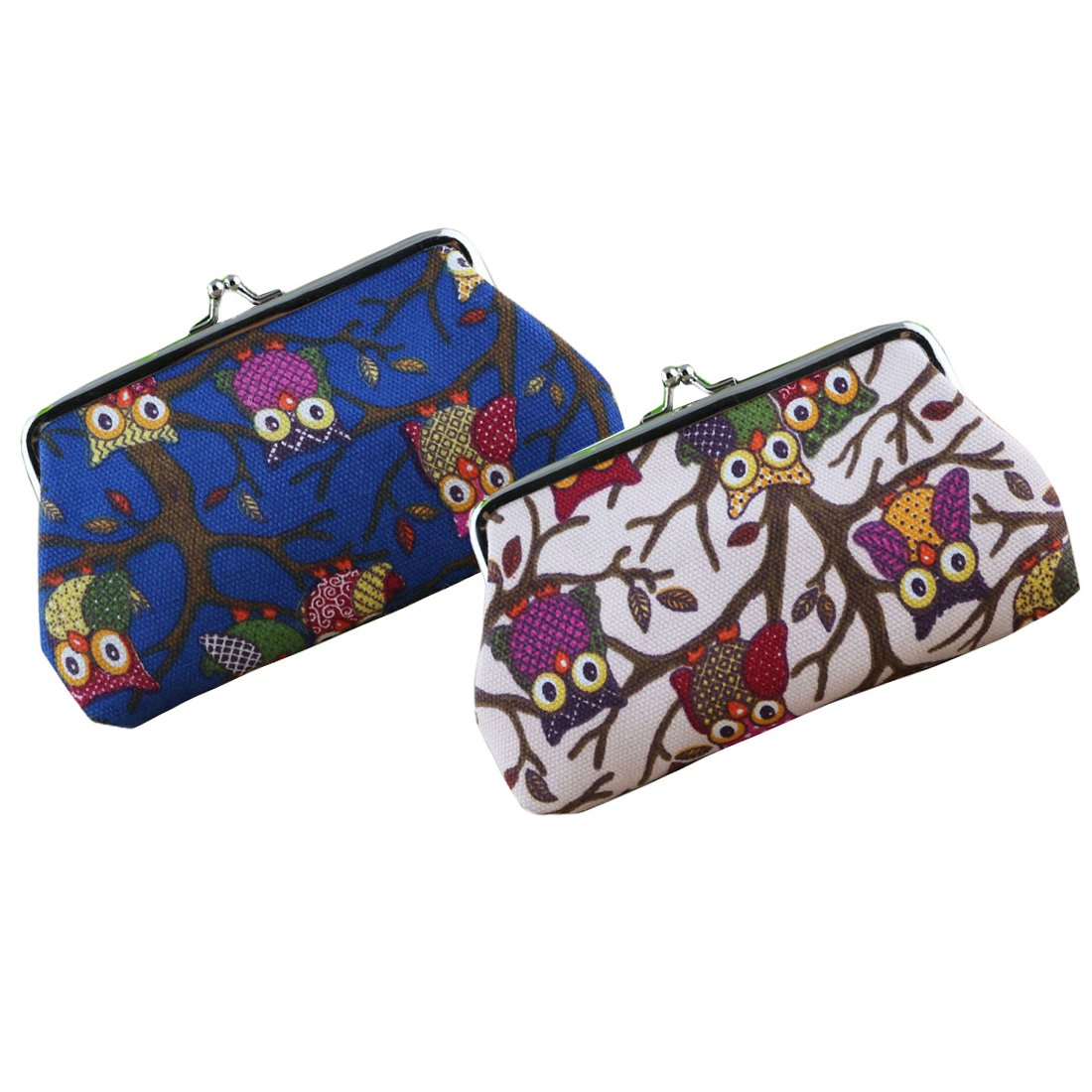 Oyachic 2 Packs Coin Pouch Phone Purse Owl Pattern Clasp Closure Wallet Gift 7.1L X 3.7 H Coin Purse