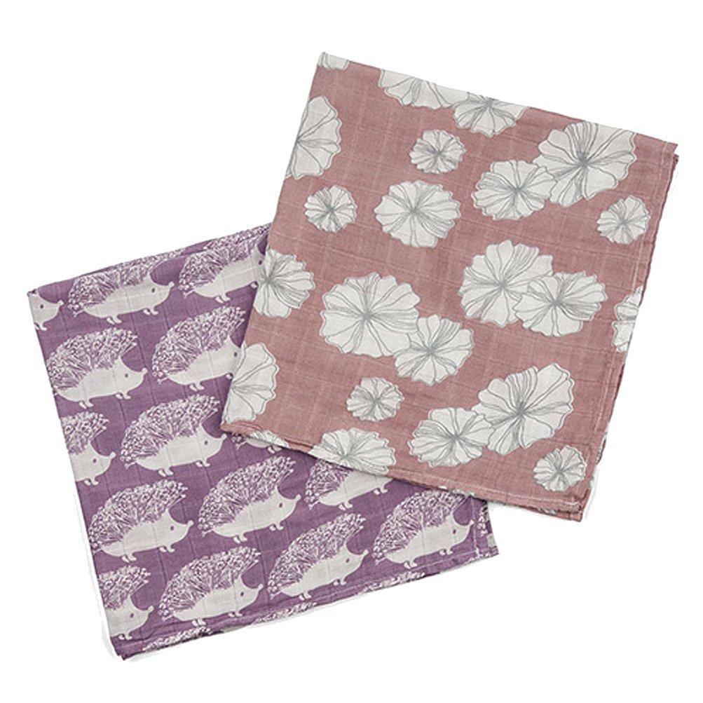 Milkbarn Organic Cotton Burp Cloths ''Lavender Hedgehog/Rose Floral''
