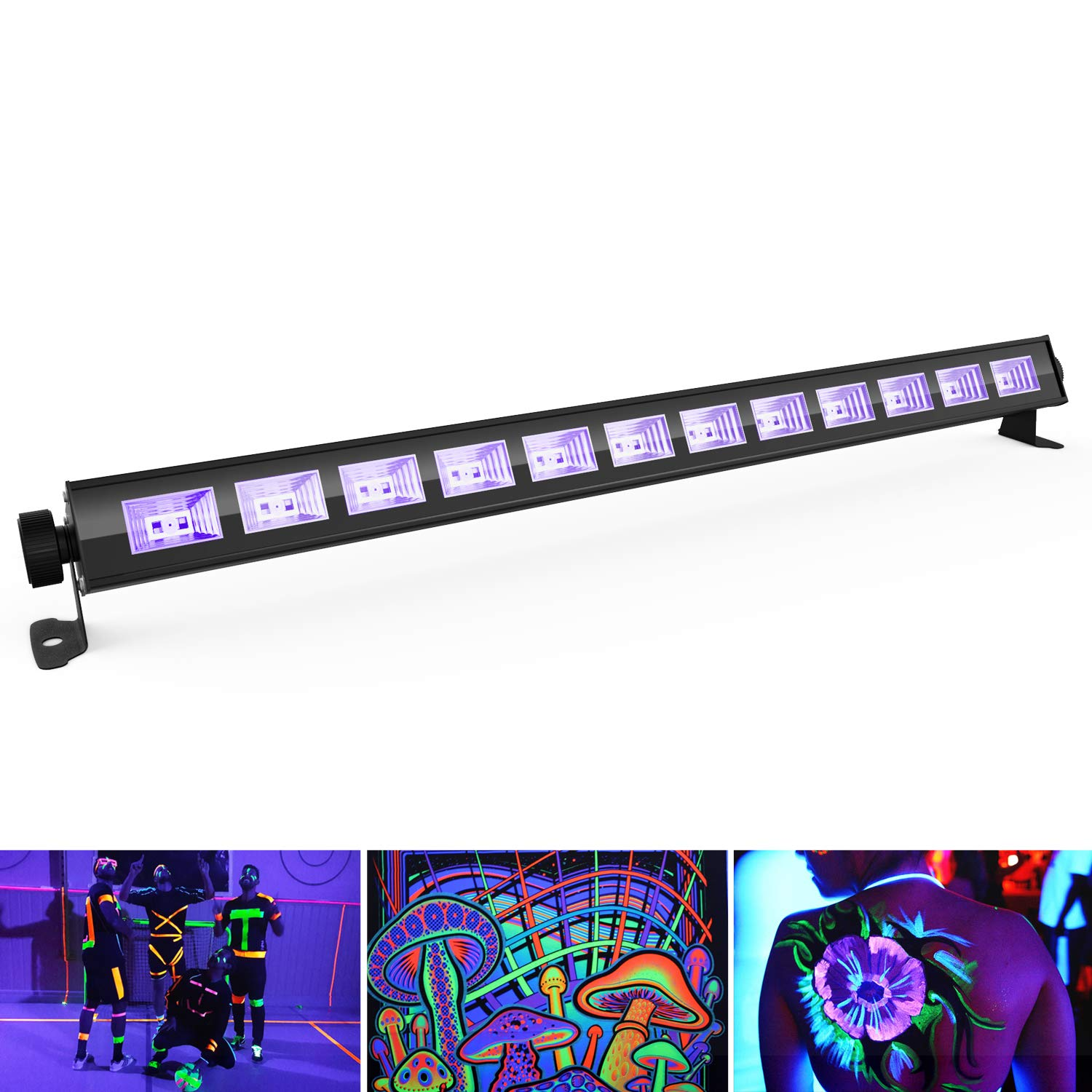 Black Light, SHENMATE 12 x 3W LED UV Bar with Flexible Mounting Brackets for Fluorescent Tapestry Poster, Glow Paint, Gym, Glow in The Dark Birthday Christmas New Year Party Decoration (Mental Casing) SM-12LED-01