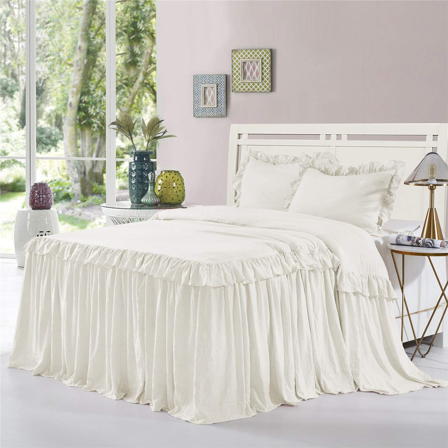 HIG 3 Piece Ruffle Skirt Bedspread Set Queen-Ivory Color 30 inches Drop Ruffled Style Bed Skirt Coverlets Bedspreads Dust Ruffles- Alina Bedding Collections Queen Size-1 Bedspread, 2 Standard Shams