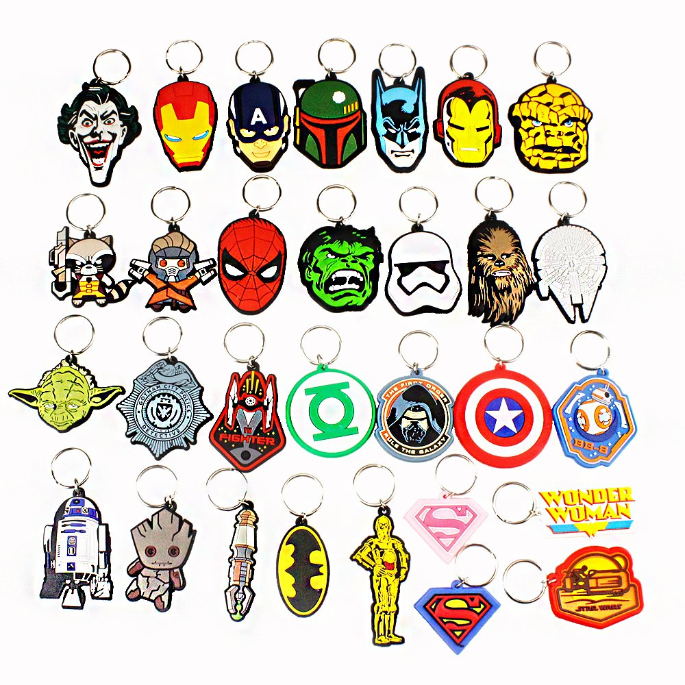 Airgoesin 30pcs Keychain Key Ring Hang Super Hero Christmas Gift Holiday Charms for Kids Birthday Party Favors Goody Bags & School Carnival Reward Prizes Decoration Supplies Assortment
