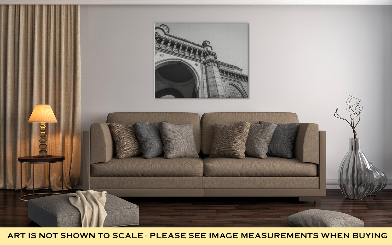 Ashley Canvas The Gateway Of India A Monument, Wall Art Home Decor, Ready to Hang, Black/White, 16x20, AG6395671