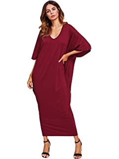 acaf2f7726 Verdusa Women s Casual Long Sleeve Oversized Loose Pocket Plus Size Maxi  Dress