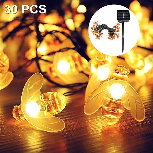 Guirnalda de Luces solar LED 6.5 M 30LED Luces solares para jardín ...