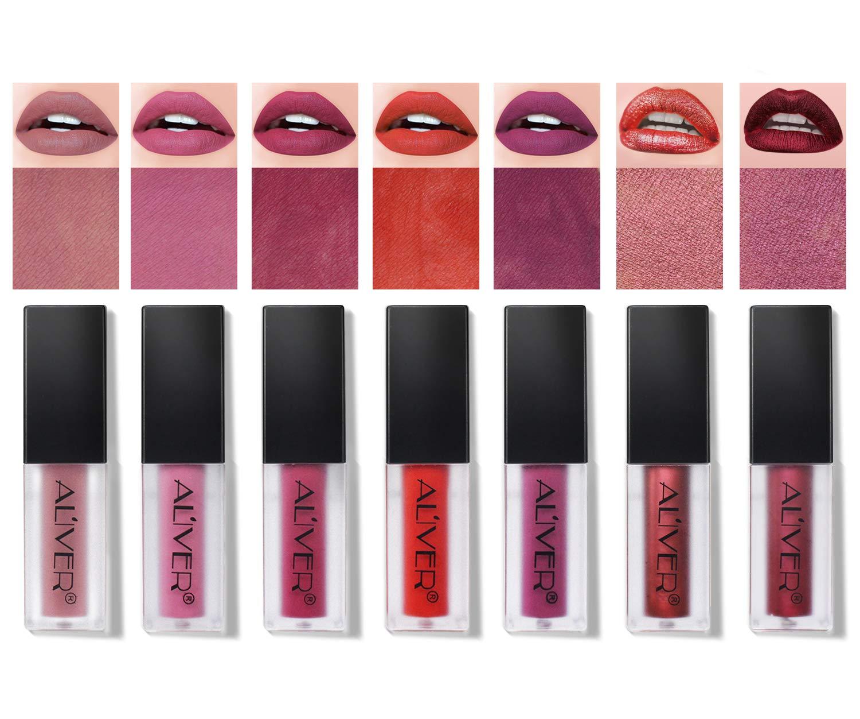 ALIVER 7 Colors Matte Lipgloss Set, Long Lasting Lips Sticks,Liquid Lipstick Waterproof Lipstick Makeup 7pcs/set
