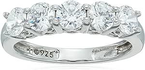 Platino plata de ley y circonitas de Swarovski five-stone Ring (1,25quilates)