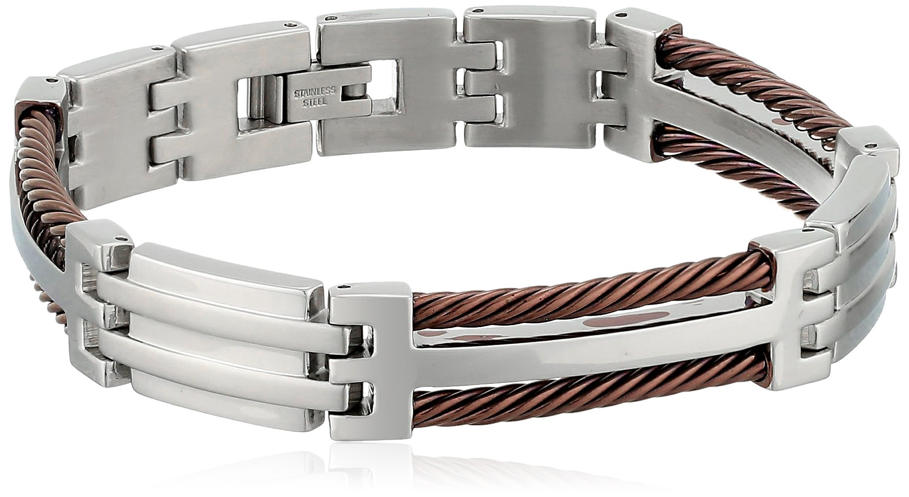 Cold Steel Stainless Steel and Brown Immersion Plated Men's Cable Bracelet