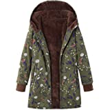 Dubocu LLC Women's Winter Warm Outwear Floral Print Hooded Pockets Vintage Oversize Coats