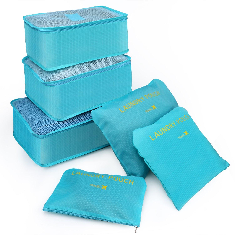 Set di 6 Borse da viaggio - Kitdine Borse Risparmio di Spazio Sistema di Cubi, 6 Pezzi per Turisti da Viaggio – Organizzatori a Forma di Cubo Dello Spazio Interno con Busta per Lavanderia (Blu)