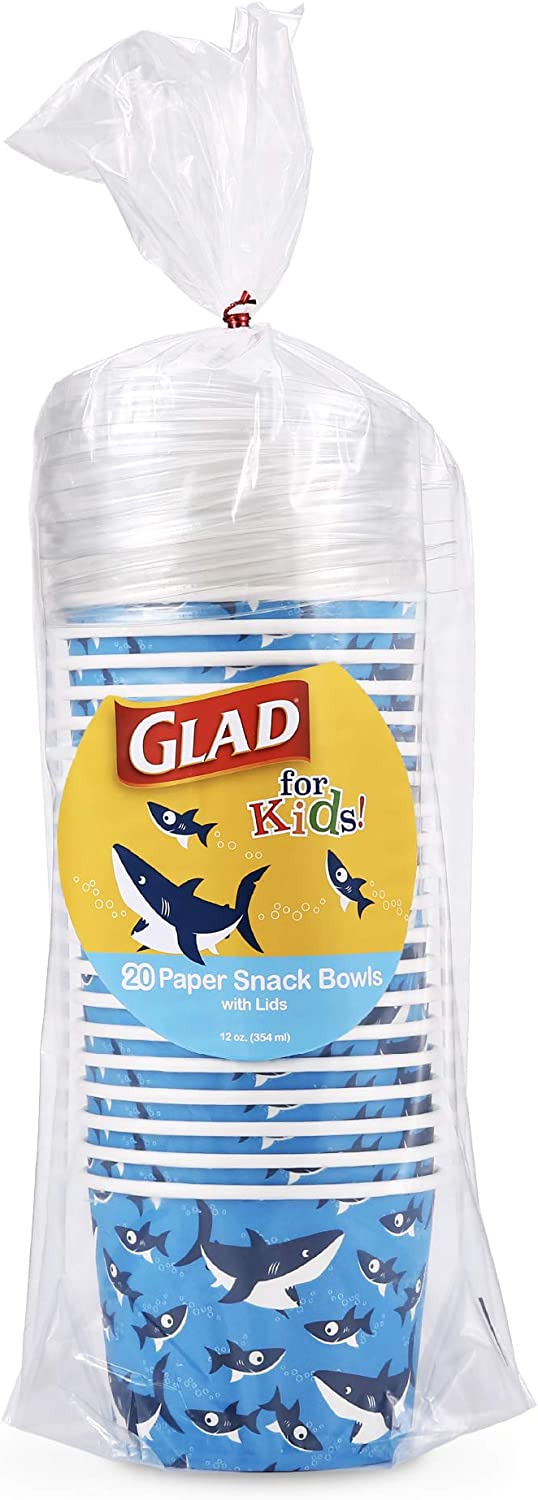 Glad for Kids Glad for Kids Shark Paper Snack Bowls with Lids, 20 Count, 20 Count