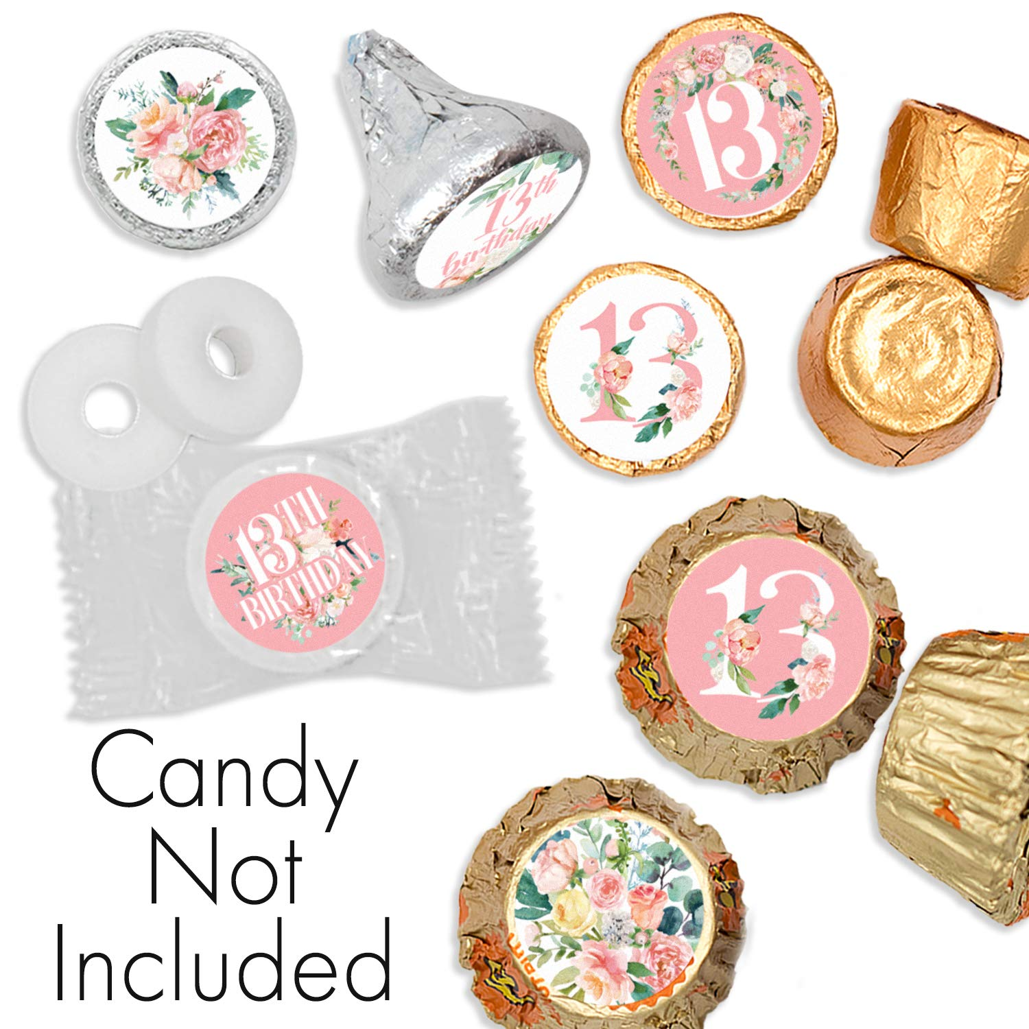 216 Stickers Pink Floral 13th Birthday Party Favor Labels