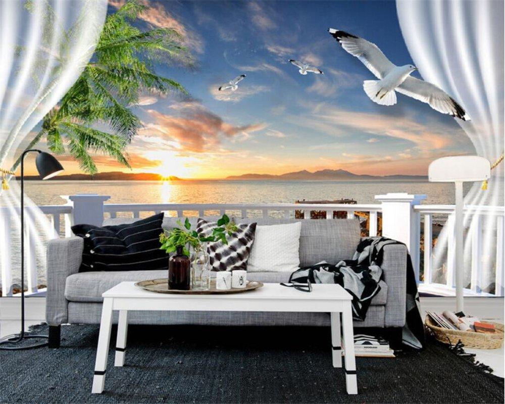 200X140Cm, 3D Photo Wallpaper 3D Balcony Sea View Seagulls Tv Wall Living Room Bedroom Background Wallpaper Decoration,By ZLJTYN B07F2JR3FL