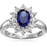 Sterling Silver Created White Sapphire Oval Ring