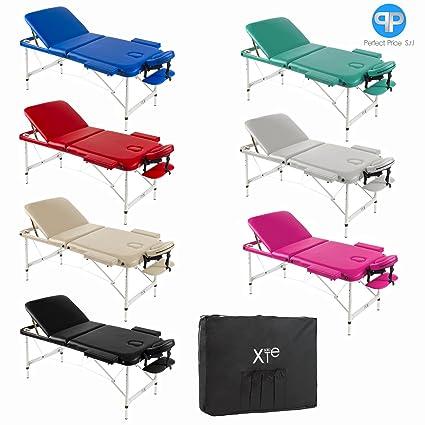 Lettino Per Massaggio Portatile In Alluminio.Lettino Da Massaggio 3 Zone Alluminio Portatile Reclinabile Bianco