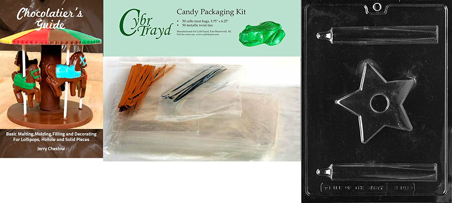 Cybrtrayd3D Candle with Star Base Miscellaneous Chocolate Mold with Chocolatiers Bundle Includes 50 Cello Bags 25 Gold and 25 Silver Twist Ties