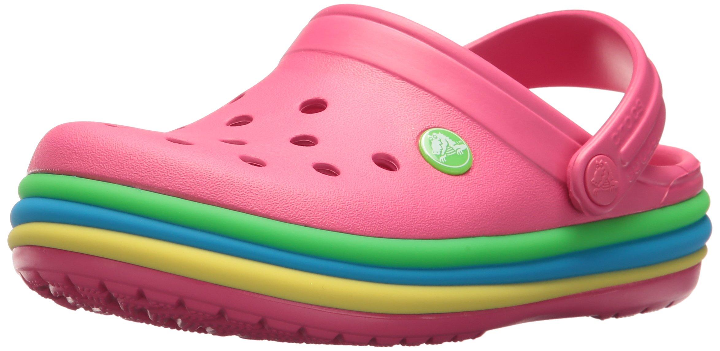 Crocs Unisex-Kids CB Rainbow Band K Clog, Paradise Pink, 5 M US Toddler