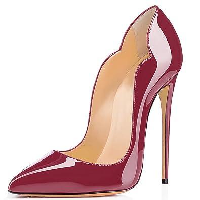 0fe10145be47b3 uBeauty Escarpins Femmes Chaussures Stiletto Soles Rouge Talon Aiguille Grande  Taille Laçage High Heels vin Rouge