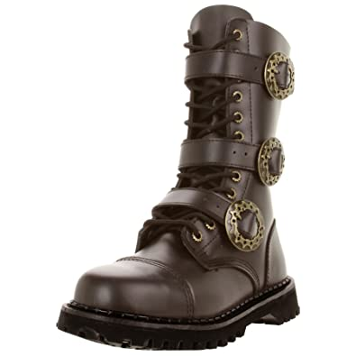 d51d979a21b Summitfashions Brown Leather MENS SIZING Combat Boots Gothic Steampunk Boots  Hardware Size  4