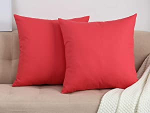 """TangDepot Set of 2 Handmade Decorative Solid 100% Cotton Canvas Throw Pillow Covers/Cushion Covers, 45 Colors Available - (18""""x18"""" 2 Pieces, Coral)"""