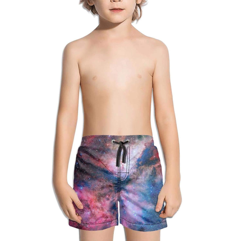 Etstk Cosmic Nebula Starry Galaxy Kids Quick Dry Beach Shorts for Students