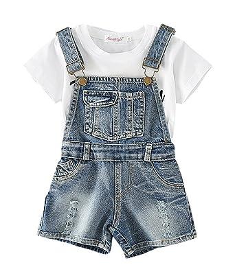 36b8eb9de1f Sitmptol Big Girls Ripped Bibs Jumpsuit Overall Shortalls with Pockets 110  Denim Blue