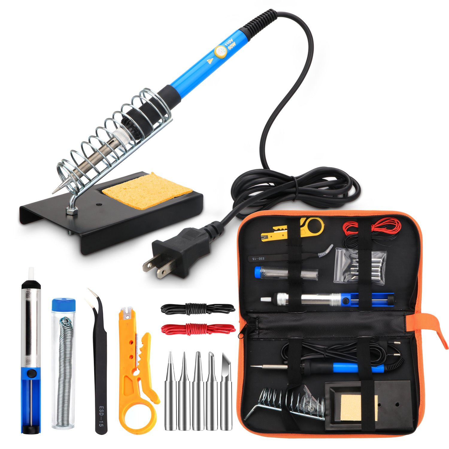 ANBES Soldering Iron Kit Electronics, 60W Adjustable Temperature Welding Tool, 5pcs Soldering Tips, Desoldering Pump, Soldering Iron Stand, Tweezers