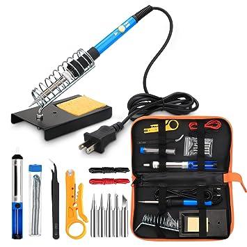 ANBES Soldadura Hierro Kit Electronics, 60 W Temperatura Ajustable Soldadura Herramienta, 5 Puntas de Soldador, Bomba desoldadora, Soldadura de Hierro ...