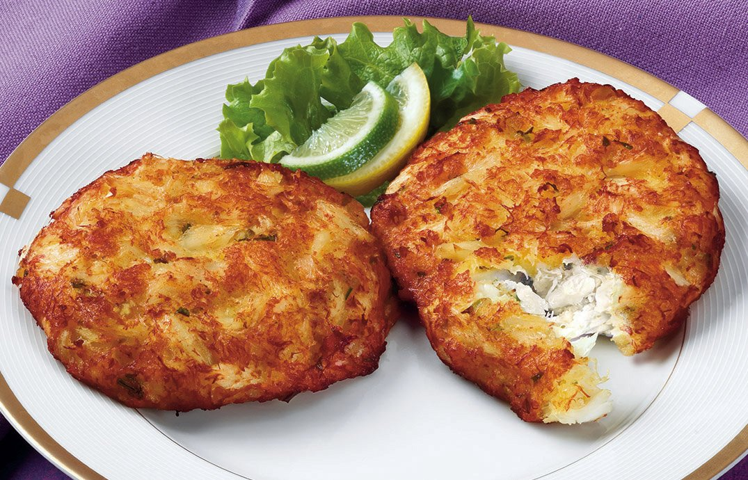 Handy Seafood 3 Oz Savory Bay Crab Cakes (4 pack - 8 cakes total).