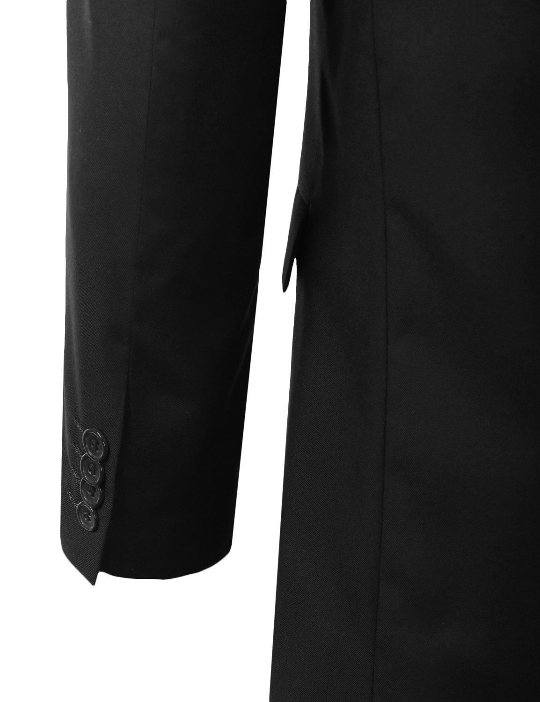 MONDAYSUIT Men's Modern Fit 2-Piece Suit Blazer Jacket & Trousers BLACK 50R 45W by MONDAYSUIT (Image #5)