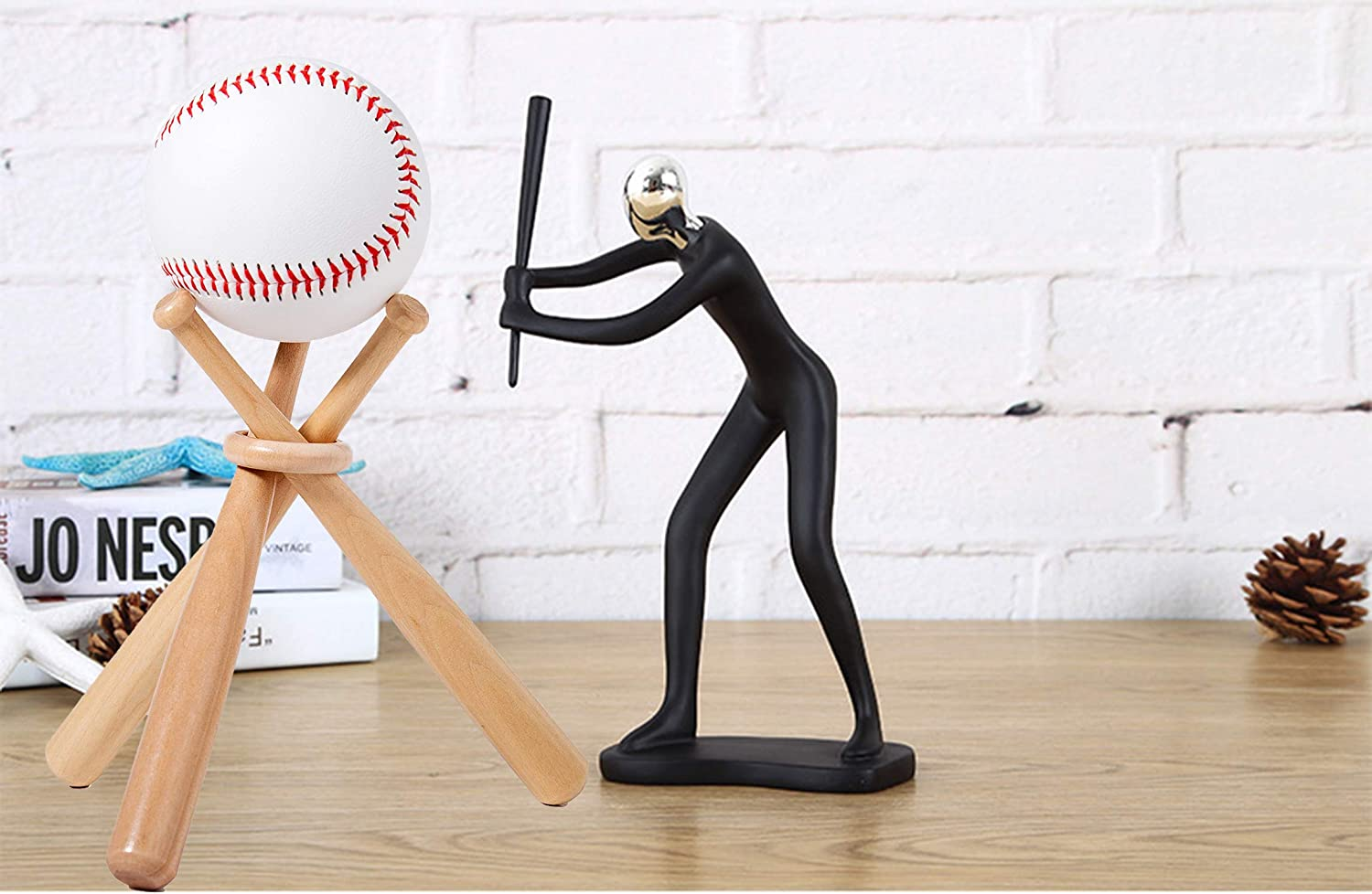 2 Wooden Circles,Baseball Display Stand Holder for Baseball Players Fans,Gift for Man and Women,Kids Buterify jewelry Wooden Baseball Stand Display Holder Set of 2 Pack,Includes 6 Mini Baseball Bats