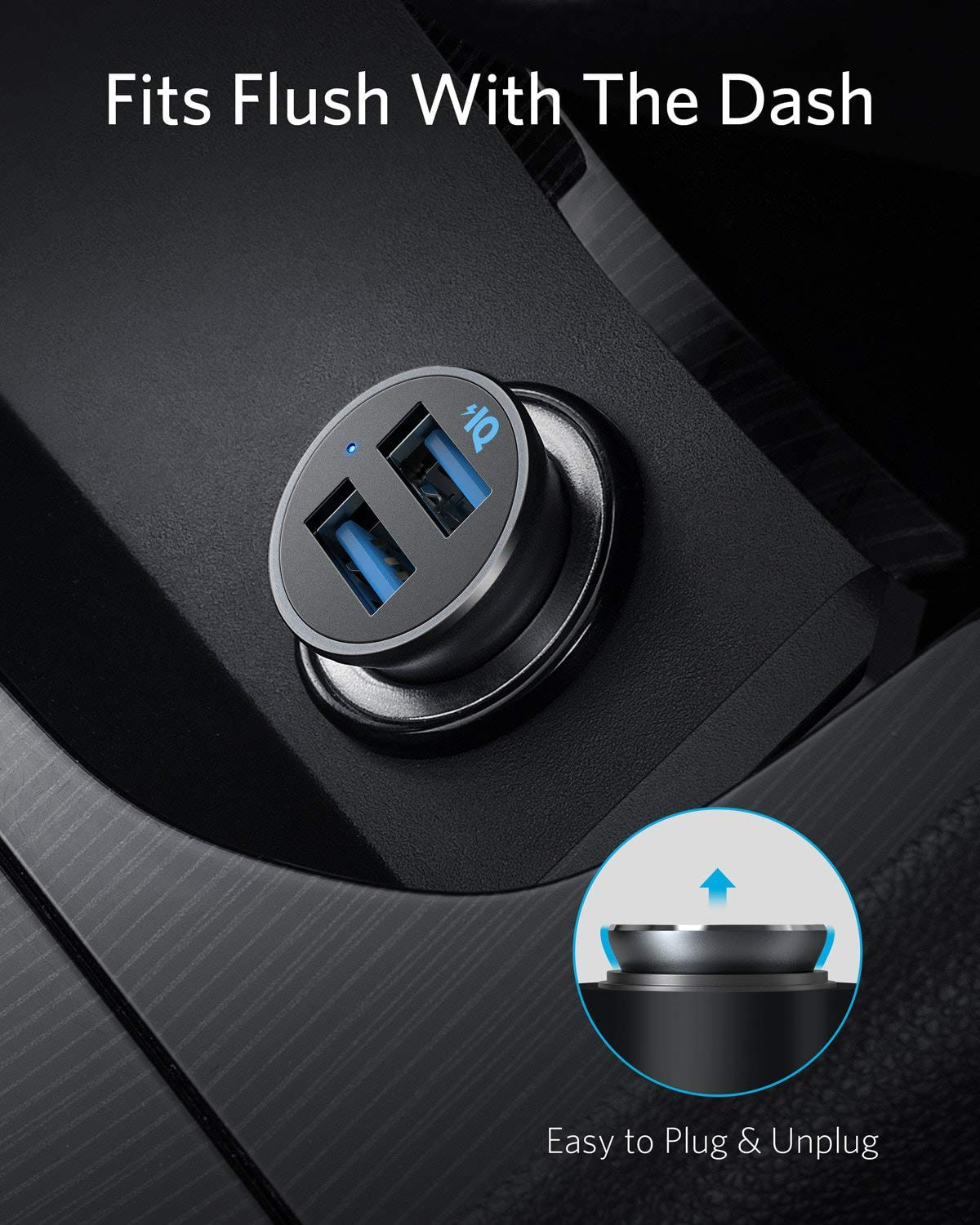 PowerDrive 2 Alloy Flush Fit Car Adapter with Blue LED Galaxy iPad Pro//Air 2//Mini LG Anker Car Charger Mini 24W 4.8A Metal Dual USB Car Charger HTC and More for iPhone XR//Xs//Max//X//8//7//Plus