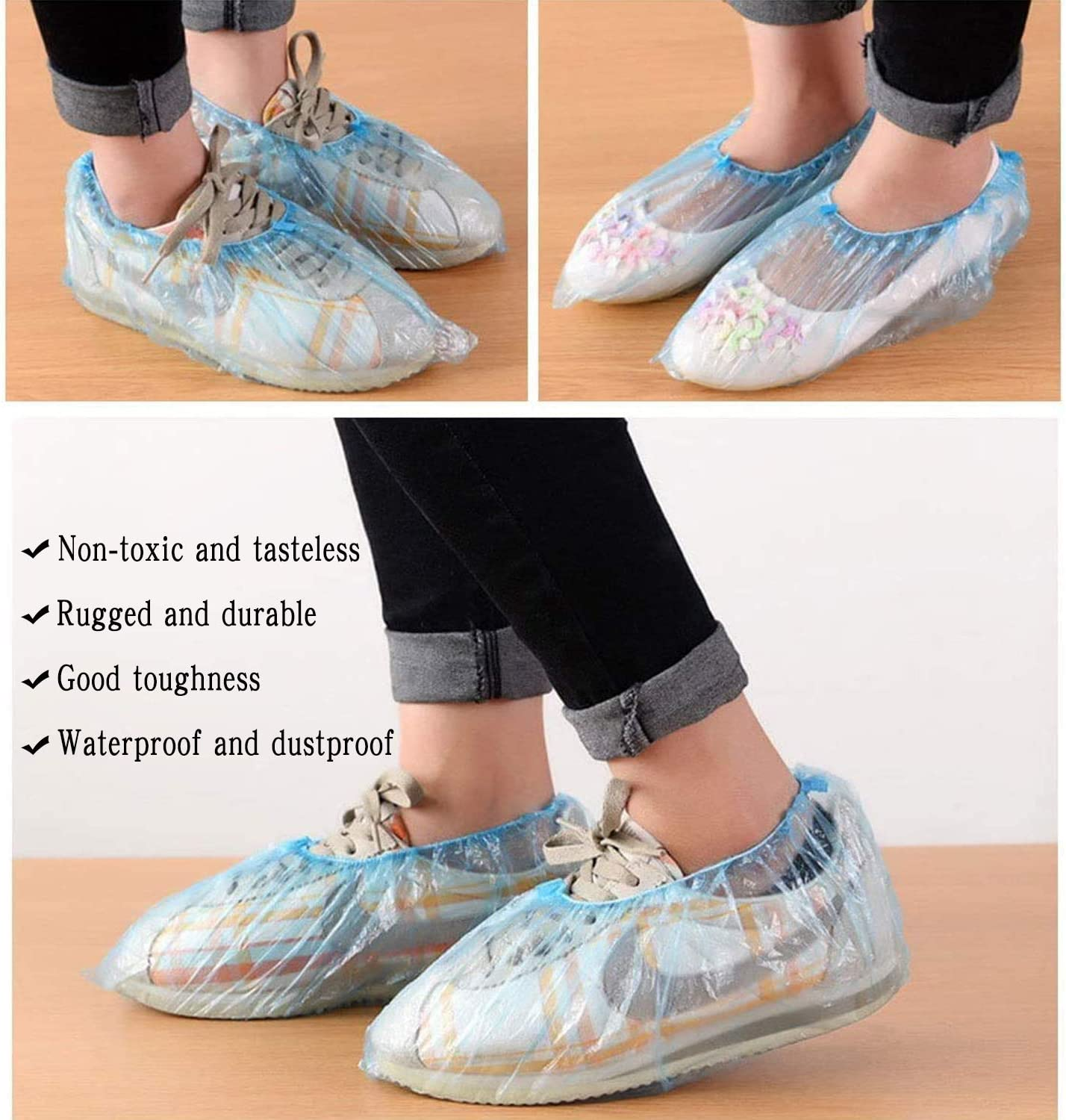 Non Slip Disposable Shoe Boot Breathable Dustproof Boot Shoe Cover for Indoor and Outdoor 100 Pieces(50 Pairs)Non-woven Disposable Shoe Covers Blue Linberfor Shoe Covers Disposable