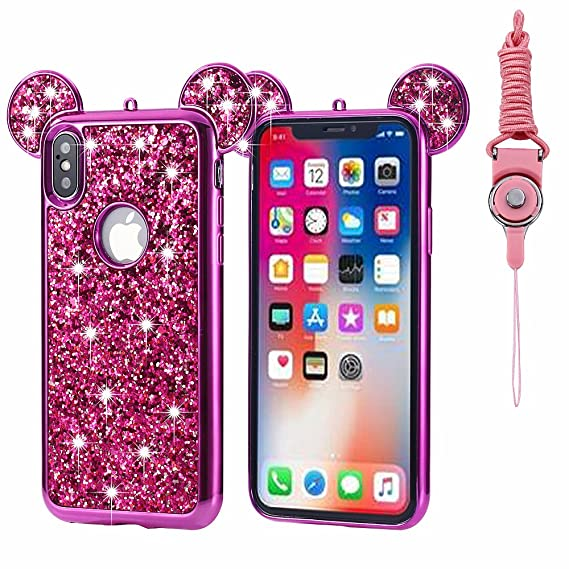 100% authentic cbaef ba77e iPhone X Case Glitter, Umiko(TM) Luxury 3D Mickey & Minnie Mouse Ears  Crystal Diamond Bling Rhinestone Sparkle Diamond Protective TPU Rubber Case  with ...