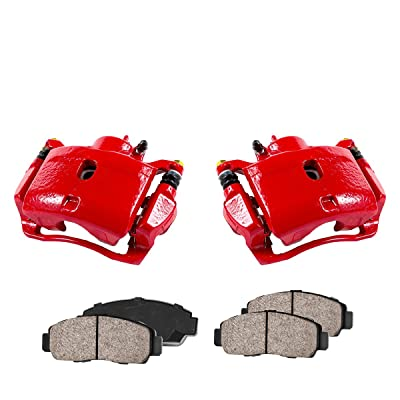 CCK11931 [2] FRONT Performance Loaded Powder Coated Red Remanufactured Caliper Assembly + Low Dust Ceramic Brake Pads: Automotive