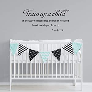 VODOE Wall Decals for kids, Nursery Wall Decal, Quotes Inspirational Bible Verse Religious Scripture Living Room Home Art Decor Vinyl Stickers Train Up a Child in The Way He Should Go Proverbs 22
