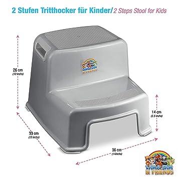 Trittschemel,2-Stufen-Schemel Grau Bamny Tritthocker f/ür Kinder Zweistufiger Tritthocker