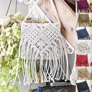 QIND 2018 Moda Playa Bohemia Borla Crossbody Bolso de Hombro Hecho a Mano Pajita Tejida Mujer Crochet Flinged Bolsa, Blanco, 20 * 20: Amazon.es: Hogar