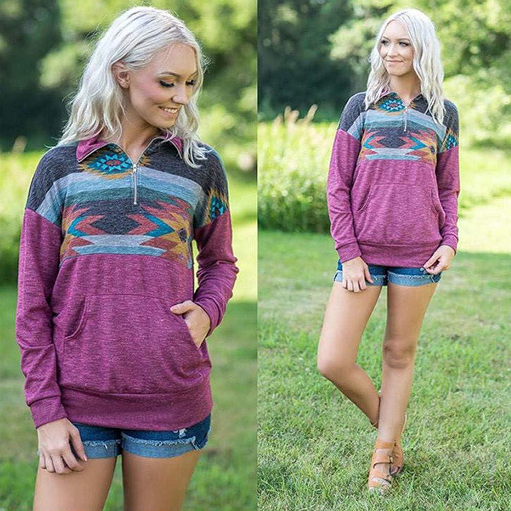 Goddessvan 2018 Womens Long Sleeve Print Zipper Sweatshirt Pullover Blouse Tops Pockets