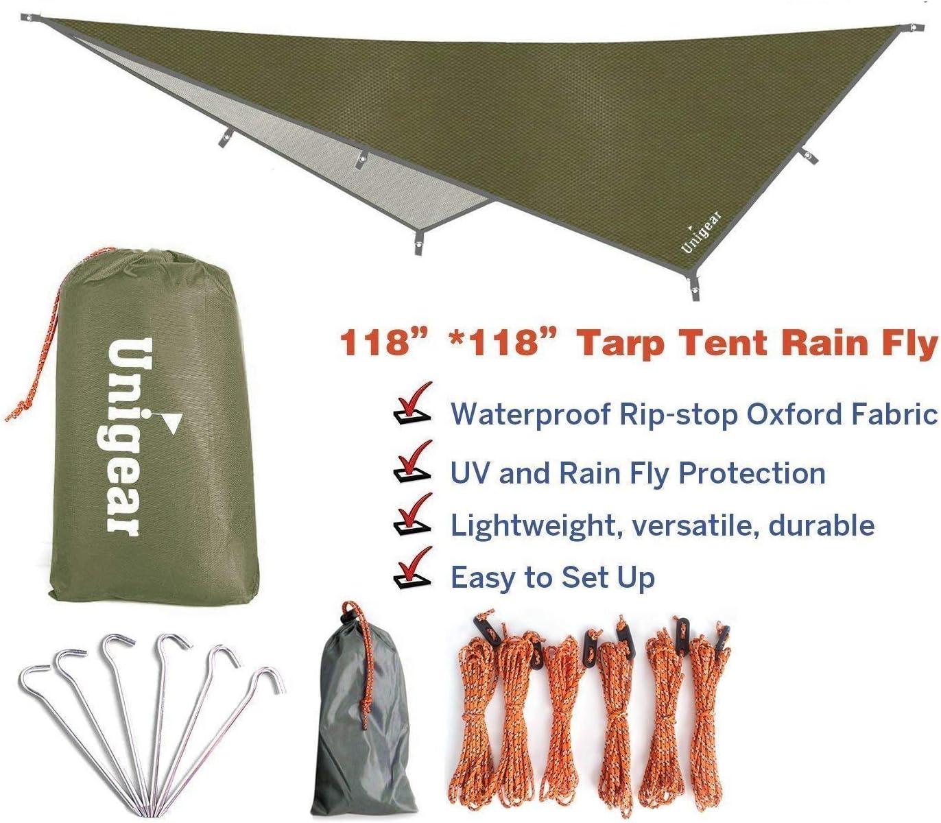 Tarp Rain Fly Toile de Tente Imperm/éable Abri de Randonn/ée Pliable L/éger Imperm/éable /à leau pour Le Camping et la Protection Contre la Pluie Unigear B/âche Anti-Pluie la Neige et Le Soleil