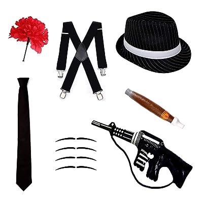 Gángster Disfraz Juego - Sombrero Trilby, corbata, tirantes, puros, Bigotes & CLAVEL - Negro, one size: Juguetes y juegos