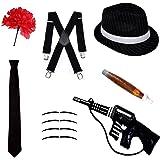 Gángster Disfraz Juego - Sombrero Trilby, corbata, tirantes, puros, Bigotes & CLAVEL - Negro, one size