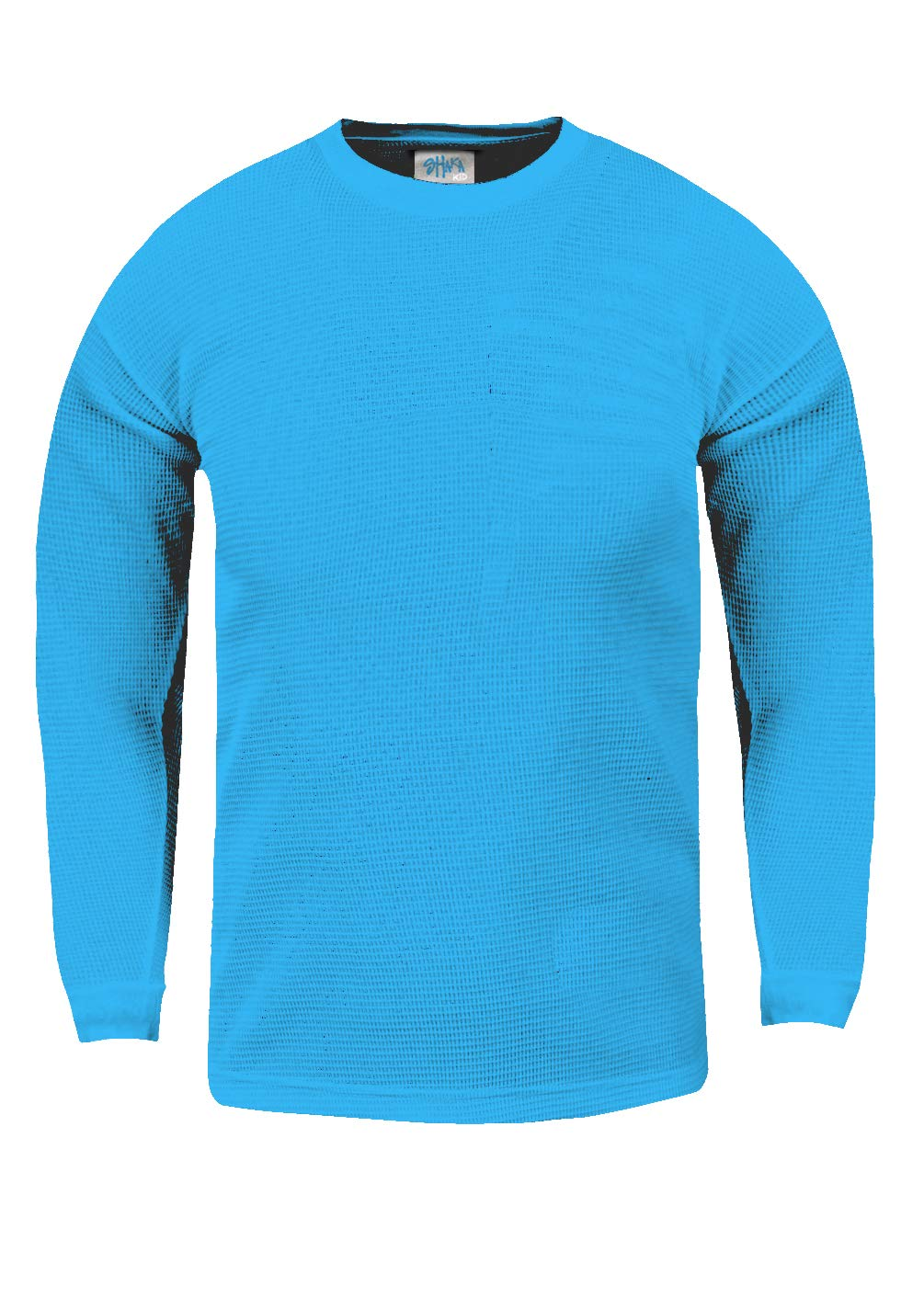 KTC09_XL Thermal Long Sleeve Crewneck Waffle Shirt Turquoise XL by Shaka Wear