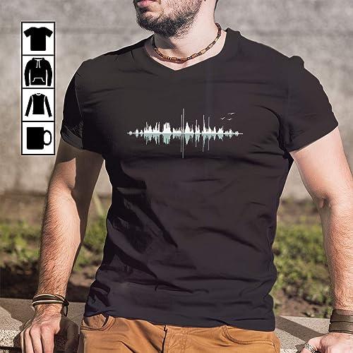 21eaa34343af Amazon.com: Music Audio Frequency Wave Music City T Shirt Long Sleeve Sweatshirt  Hoodie Youth: Handmade