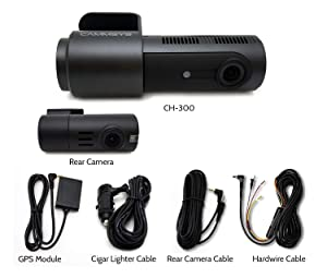 BlackSys CH-300 2 Channel Dash cam with Front 2560 x 1440p Quad HD/Rear 1920 x 1080p Full HD, Night Vision, GPS, 32GB SD Card, Hardwiring Kit Included for Parking Mode