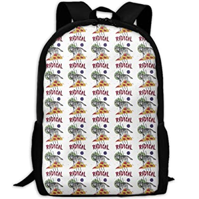 ZQBAAD Four Eyed Wolf Riding Pizza Luxury Print Men And Women's Travel Knapsack