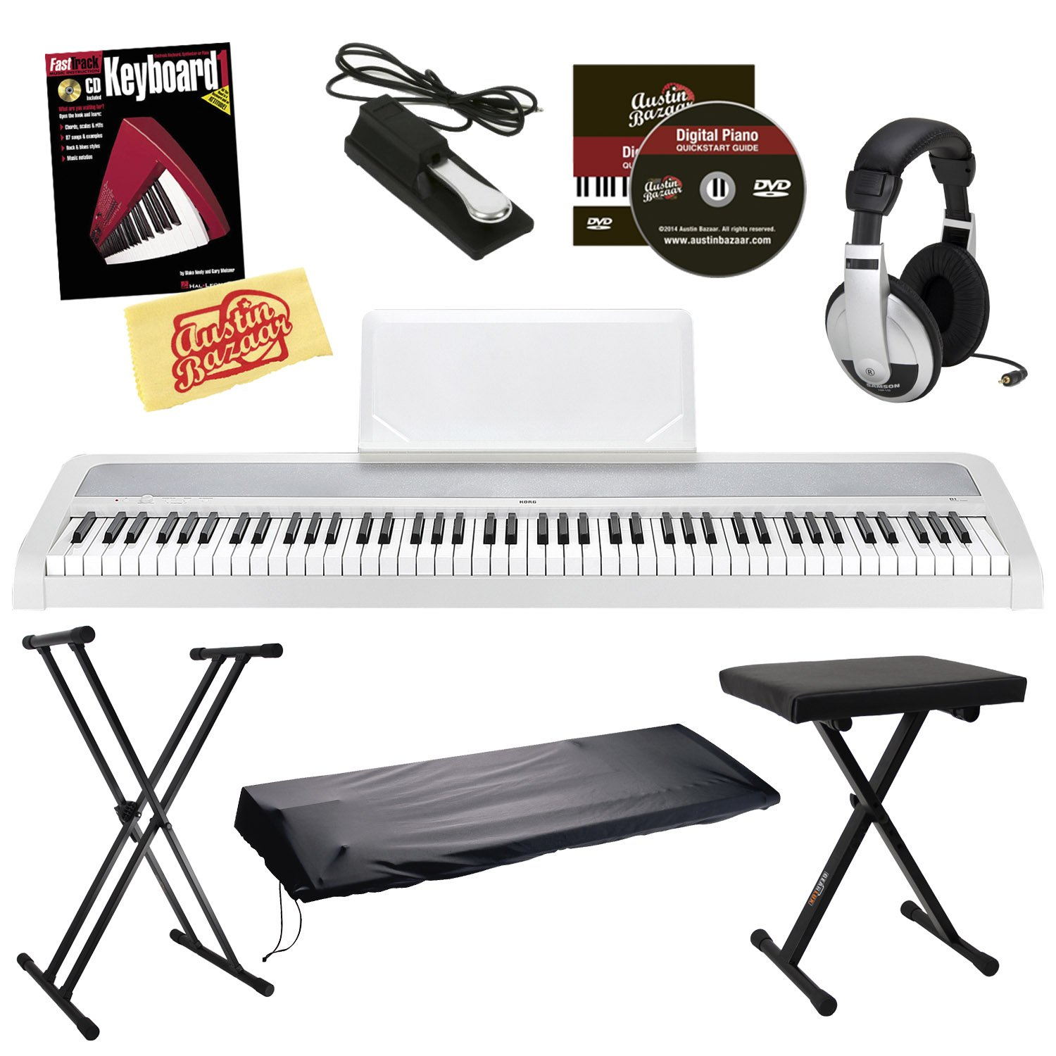 korg b1 digital piano bundle with bench stand dust