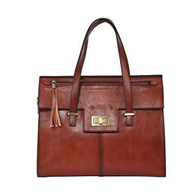 76d5c8ef888a Banuce Vintage Full Grain Real Leather Handbags for Women Tassel Ladies Tote  Satchel Messenger Shoulder Bag Purse Brown  Handbags  Amazon.com